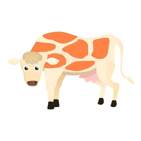 White brown cow icon. Cartoon of white brown cow vector icon for web design isolated on white background  イラスト・ベクター素材