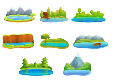 Lake icons set. Cartoon set of lake vector icons for web design