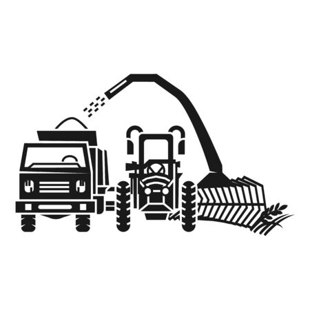 Tractor harvester equipment icon. Simple illustration of tractor harvester equipment vector icon for web design isolated on white background