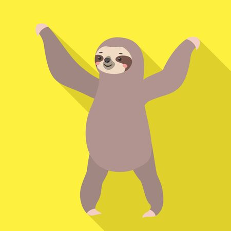 Dancing sloth icon. Flat illustration of dancing sloth vector icon for web design