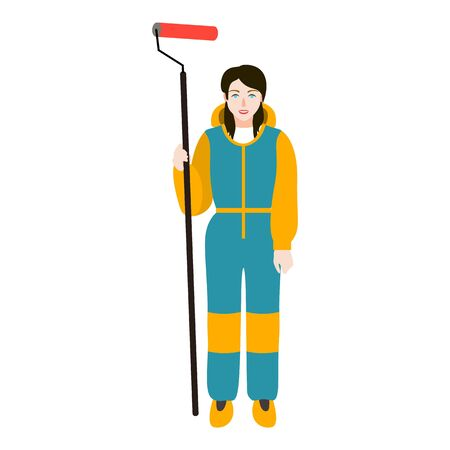 Woman with paint roller icon. Flat illustration of woman with paint roller vector icon for web design Illustration