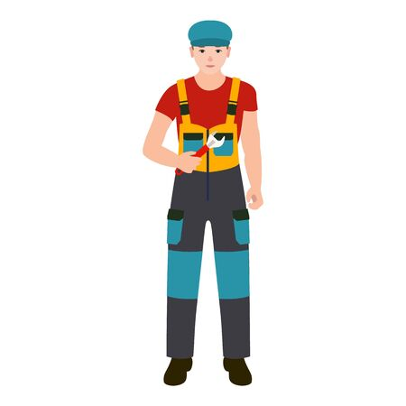 Worker man with key tool icon. Flat illustration of worker man with key tool vector icon for web design Stock Illustratie