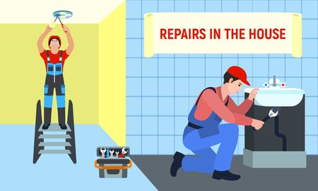 Repairman in house concept banner. Flat illustration of repairman in house vector concept banner for web design