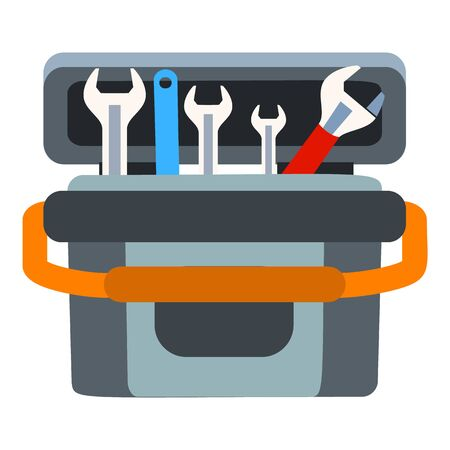 Key tool box icon. Flat illustration of key tool box vector icon for web design