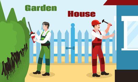 Garden house repair concept banner. Flat illustration of garden house repair vector concept banner for web design