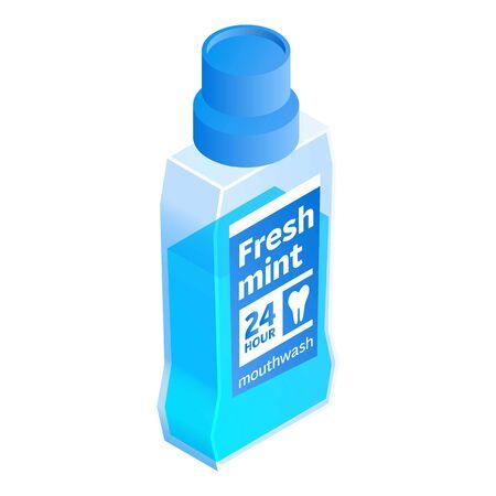 Fresh mint mouthwash icon. Isometric of fresh mint mouthwash vector icon for web design isolated on white background Illustration