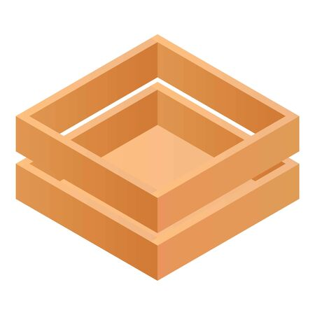Wood box icon. Isometric of wood box vector icon for web design isolated on white background