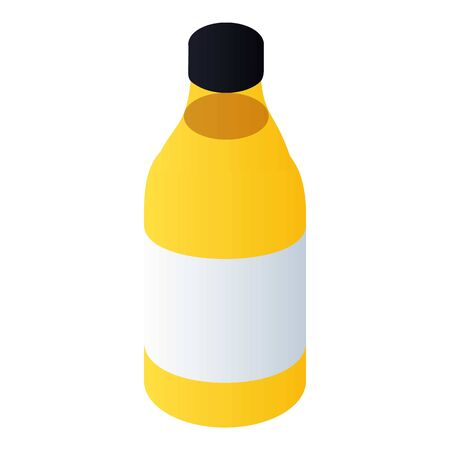 Yellow paint bottle icon. Isometric of yellow paint bottle vector icon for web design isolated on white background