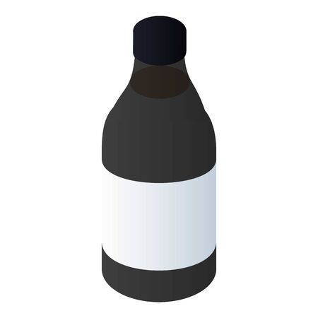 Black paint bottle icon. Isometric of black paint bottle vector icon for web design isolated on white background 写真素材 - 129436014