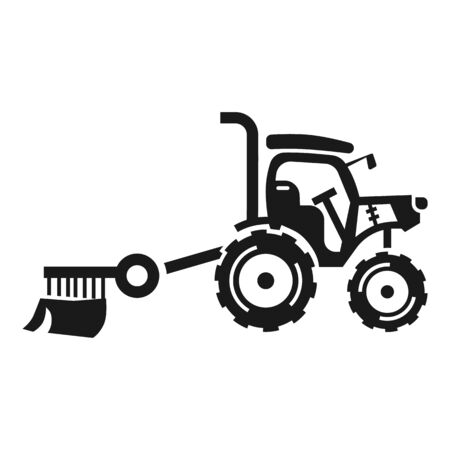 Small farm tractor icon. Simple illustration of small farm tractor vector icon for web design isolated on white background