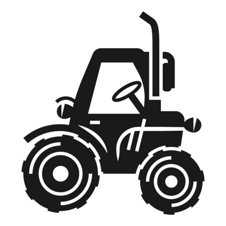 Old farm tractor icon. Simple illustration of old farm tractor vector icon for web design isolated on white background Stock Illustratie
