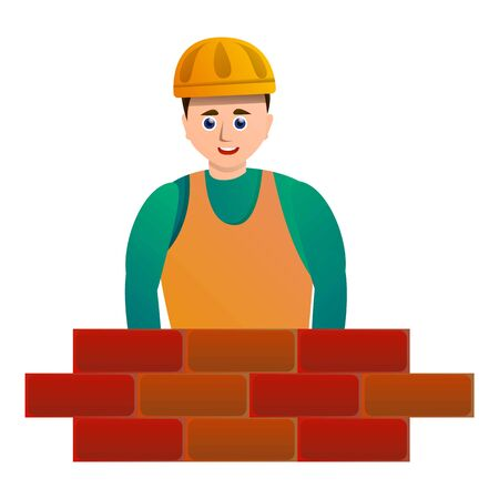 Masonry brick worker icon. Cartoon of masonry brick worker vector icon for web design isolated on white background  イラスト・ベクター素材