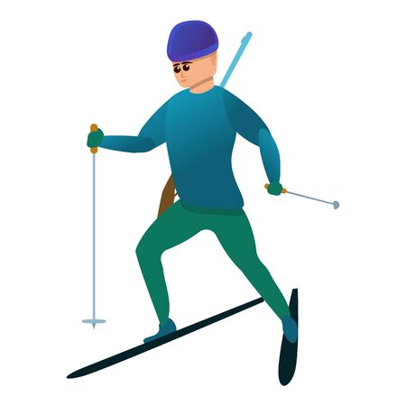 Biathlon sport icon. Cartoon of biathlon sport vector icon for web design isolated on white background Archivio Fotografico - 129436603