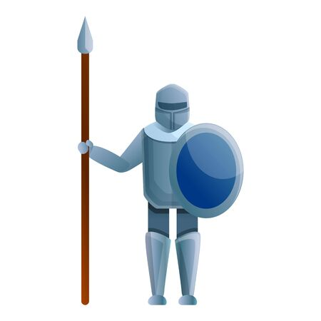 Knight with spear icon. Cartoon of knight with spear vector icon for web design isolated on white background