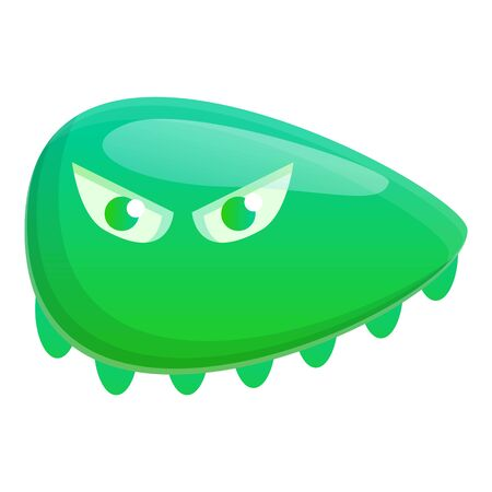 Green bacteria icon. Cartoon of green bacteria vector icon for web design isolated on white background Çizim
