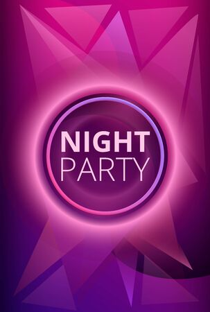 Purple night party concept banner. Cartoon illustration of purple night party vector concept banner for web design