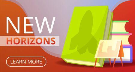 New horizons education concept banner. Cartoon illustration of new horizons education vector concept banner for web design  イラスト・ベクター素材