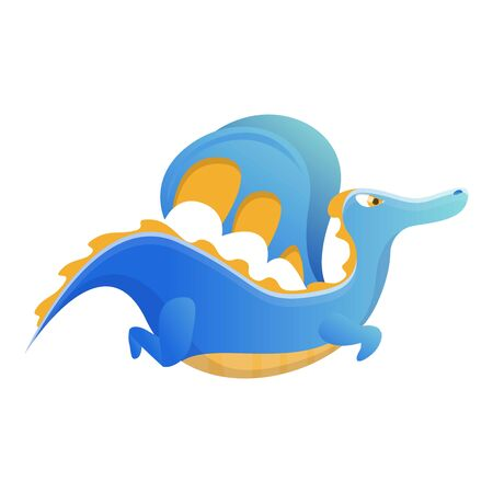 Flying blue dragon icon. Cartoon of flying blue dragon vector icon for web design isolated on white background Фото со стока - 129329809
