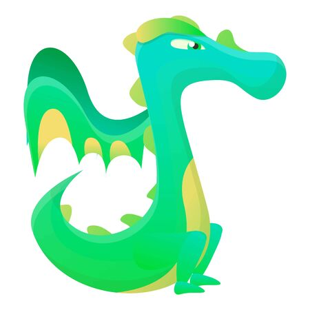 Green yellow dragon icon. Cartoon of green yellow dragon vector icon for web design isolated on white background
