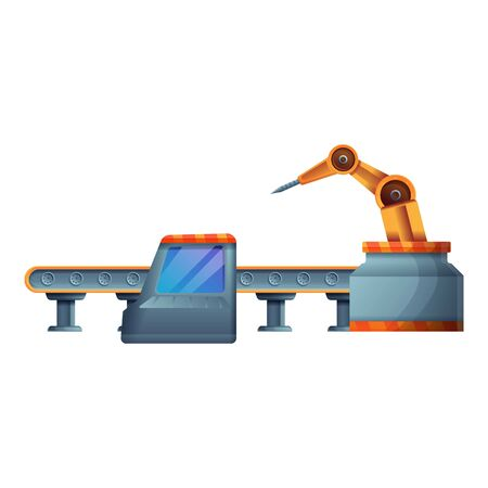 Car assembly line icon. Cartoon of car assembly line vector icon for web design isolated on white background Stock Illustratie