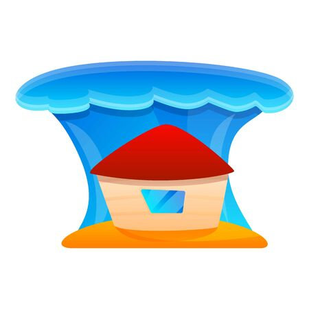 House under tsunami wave icon. Cartoon of house under tsunami wave vector icon for web design isolated on white background