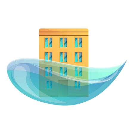 City building flood icon. Cartoon of city building flood vector icon for web design isolated on white background
