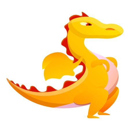 Yellow dragon icon. Cartoon of yellow dragon vector icon for web design isolated on white background Ilustrace