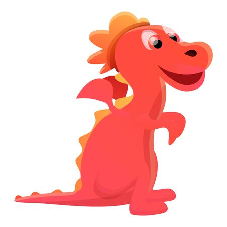 Kid red dragon icon. Cartoon of kid red dragon vector icon for web design isolated on white background Ilustrace
