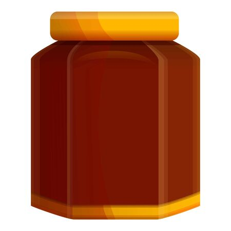 Fruit jam jar icon. Cartoon of fruit jam jar vector icon for web design isolated on white background Çizim
