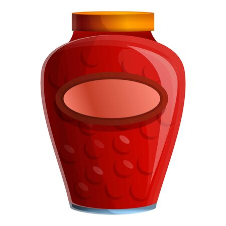 Cherry jam jar icon. Cartoon of cherry jam jar vector icon for web design isolated on white background