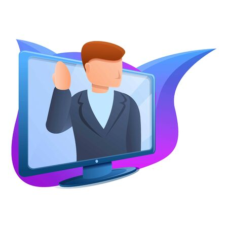Man in monitor icon. Cartoon of man in monitor vector icon for web design isolated on white background Stock Illustratie