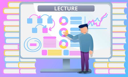 Lecture university lesson concept banner. Cartoon illustration of lecture university lesson vector concept banner for web design Illustration