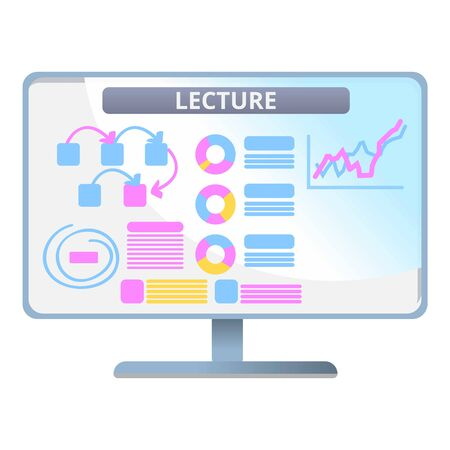 Lecture web lesson icon. Cartoon of lecture web lesson vector icon for web design isolated on white background