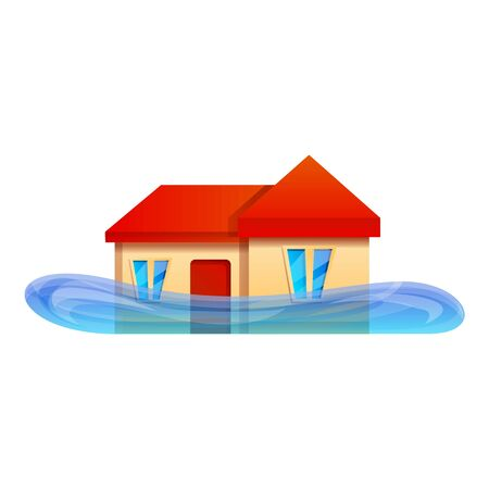 Home flood icon. Cartoon of home flood vector icon for web design isolated on white background