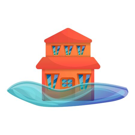 Big house flood icon. Cartoon of big house flood vector icon for web design isolated on white background Stock Vector - 129438042