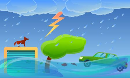 Village flood disaster concept banner. Cartoon illustration of village flood disaster vector concept banner for web design