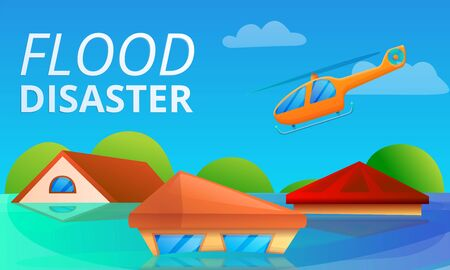 Flood disaster concept banner. Cartoon illustration of flood disaster vector concept banner for web design