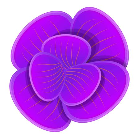 Purple orchid icon. Cartoon of purple orchid vector icon for web design isolated on white background