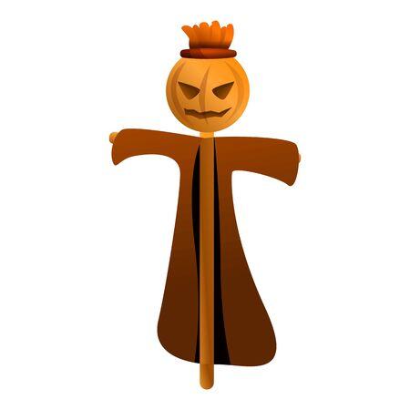 Pumpkin scarecrow icon. Cartoon of pumpkin scarecrow vector icon for web design isolated on white background