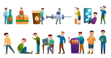 Addiction icons set. Cartoon set of addiction vector icons for web design