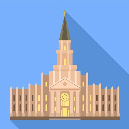 Catholic temple icon. Flat illustration of catholic temple vector icon for web design 向量圖像