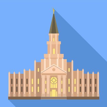 Catholic temple icon. Flat illustration of catholic temple vector icon for web design Illustration