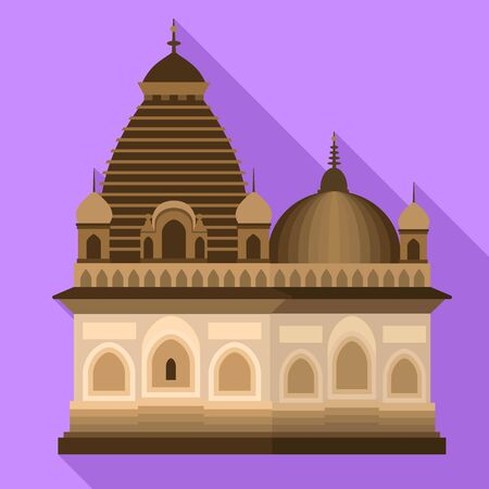 Hindu temple icon. Flat illustration of hindu temple vector icon for web design 向量圖像