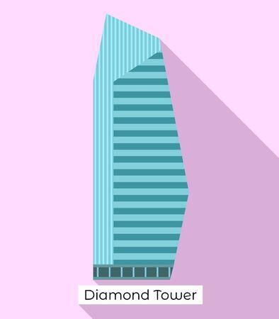 Diamond tower icon. Flat illustration of diamond tower vector icon for web design Иллюстрация