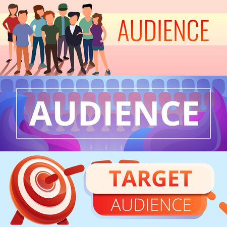 Audience banner set. Cartoon illustration of audience vector banner set for web design Illustration