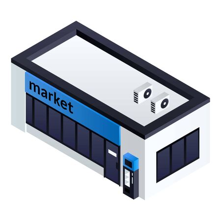 Petrol station market icon. Isometric of petrol station market vector icon for web design isolated on white background Illustration
