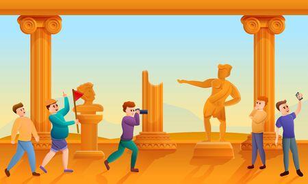 Greek excursion concept banner. Cartoon illustration of greek excursion vector concept banner for web design Stock Illustratie