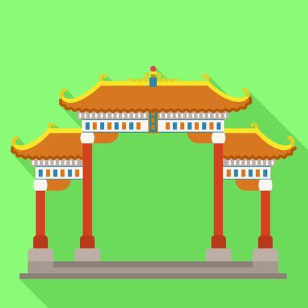 Japan gates temple icon. Flat illustration of japan gates temple vector icon for web design