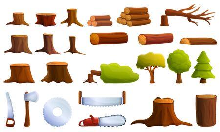 Conjunto de iconos de deforestación. Conjunto de dibujos animados de iconos de vector de deforestación para diseño web
