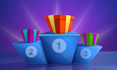 Bandiera del concetto di podio del concorso. Cartoon illustrazione del concorso podio concetto vettoriale banner per il web design